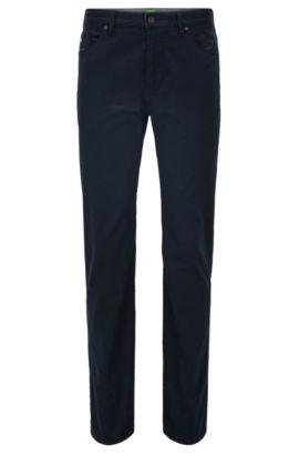 Bedruckte Regular-Fit Jeans aus elastischer Baumwolle, Dunkelblau