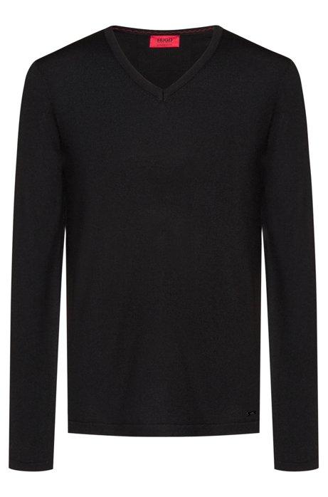 Slim-fit trui van merinowol met V-hals, Zwart