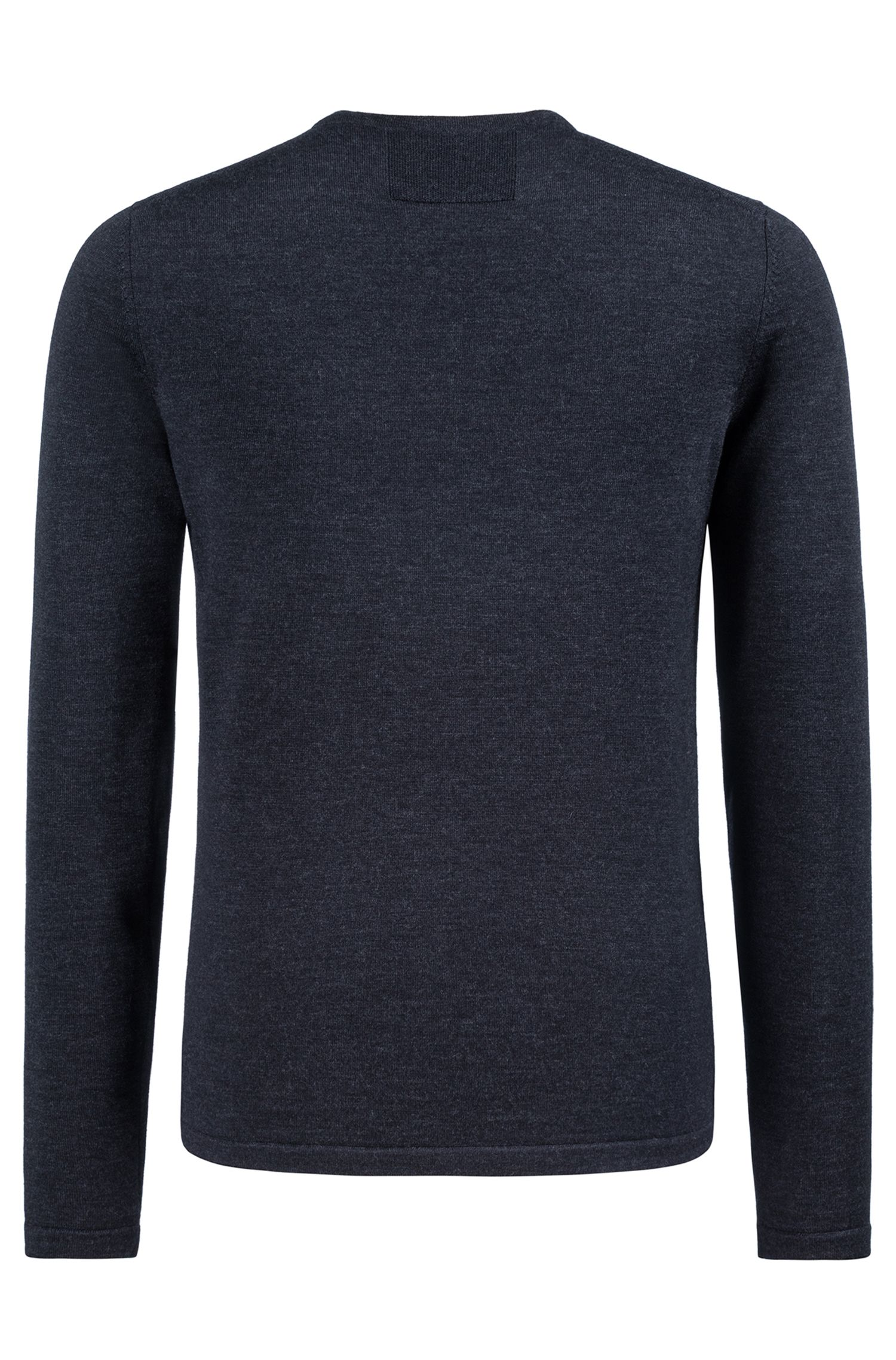 Slim-fit V-neck sweater in Merino wool, Anthracite