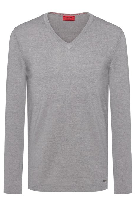 Slim-fit V-neck sweater in Merino wool, Light Grey