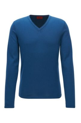 Slim-fit trui van merinowol met V-hals, Donkerblauw