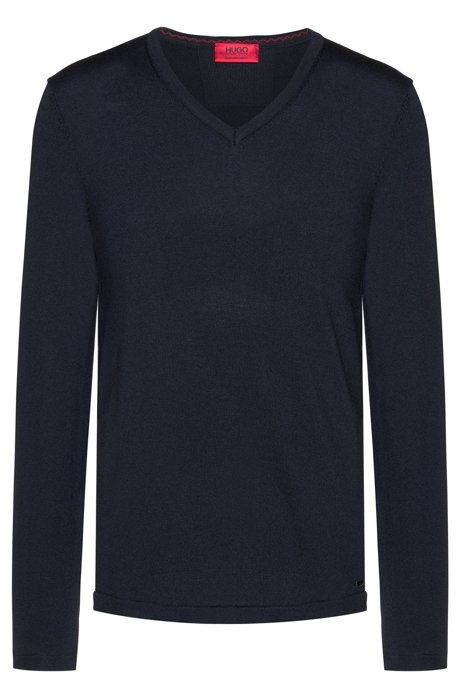Slim-fit V-neck sweater in Merino wool, Dark Blue