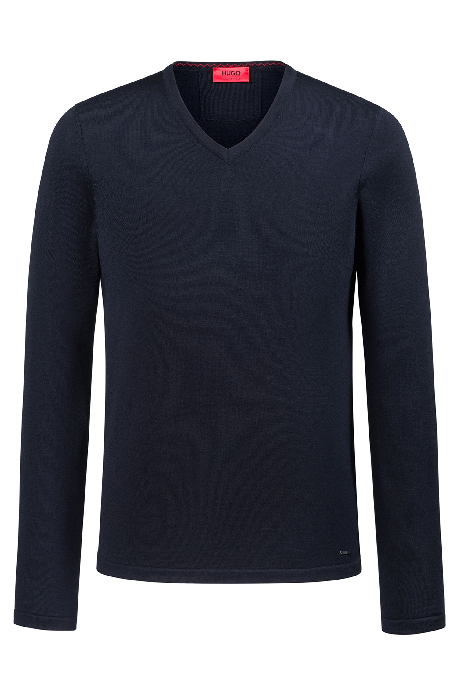 Slim-fit V-neck sweater in Merino wool