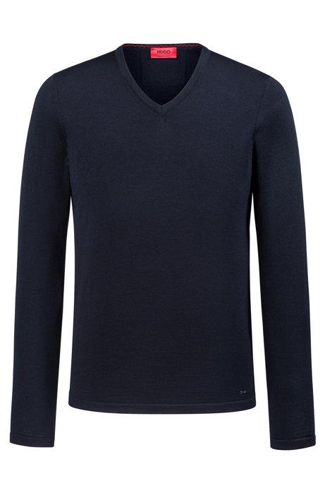74b6d777a Slim-fit V-neck sweater in Merino wool, Dark Blue