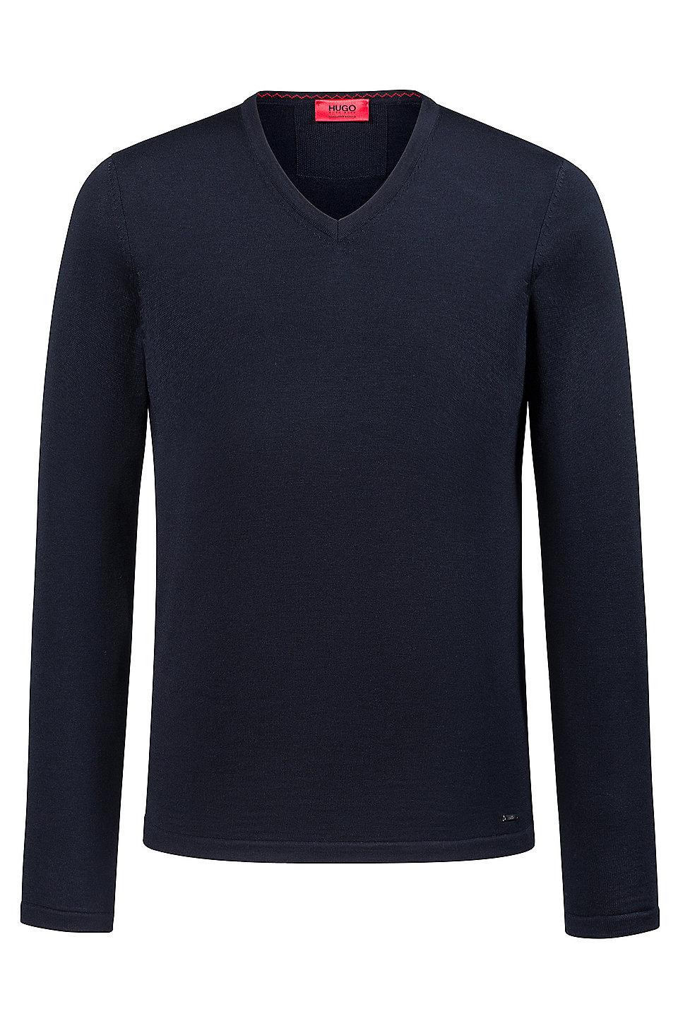 796dffc3a HUGO - Slim-fit V-neck sweater in Merino wool