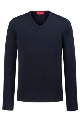 Pull colV Slim Fit en laine mérinos, Bleu foncé