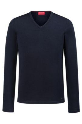 Slim-fit V-neck sweater in Merino wool, Dark Blue