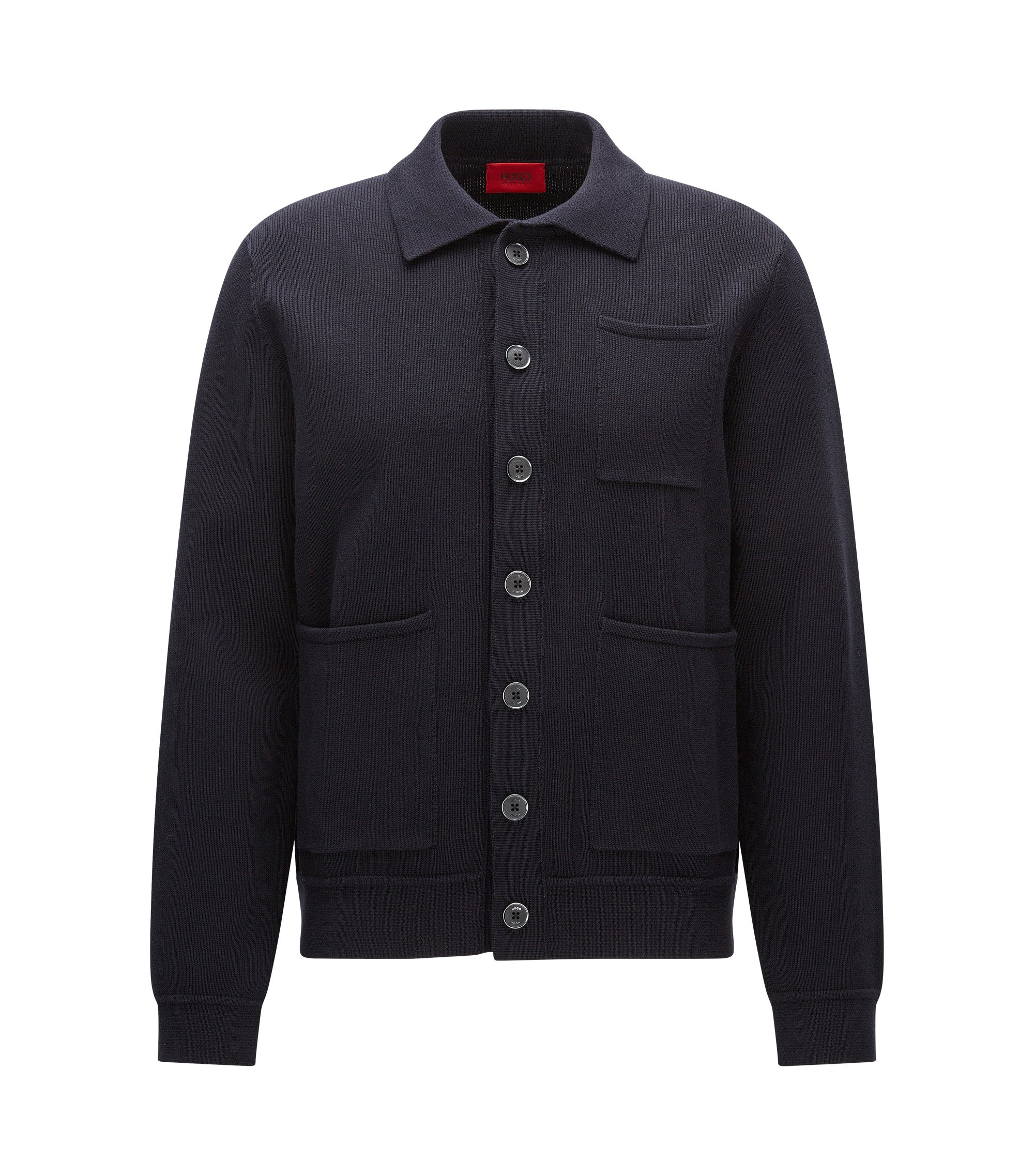 Oversize Jacke aus fester Baumwolle, Dunkelblau