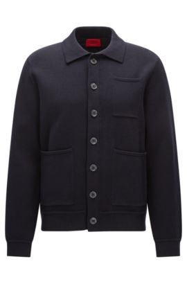 Oversized-fit jacket in tight-knit cotton, Dark Blue