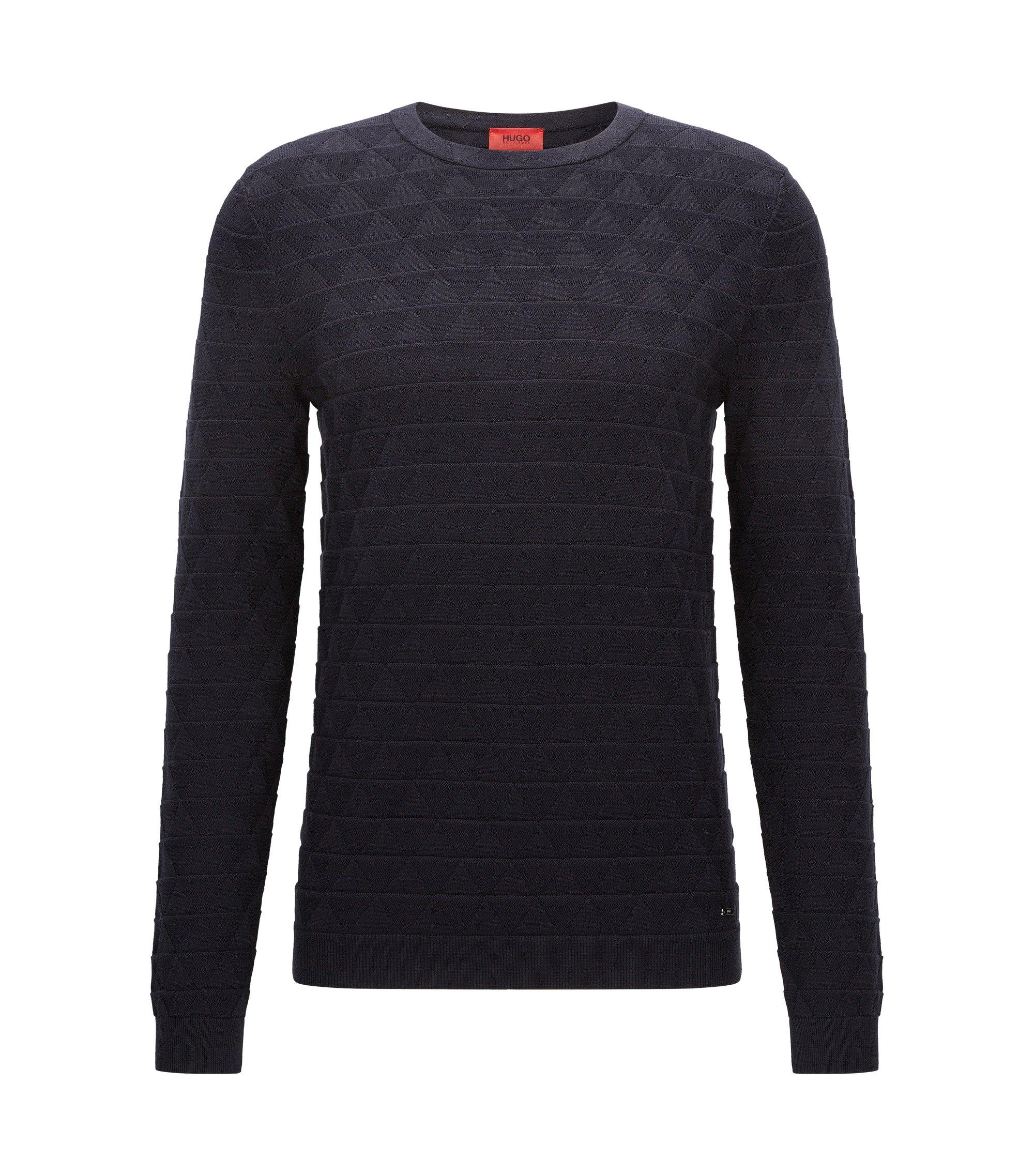 Slim-fit cotton sweater in 3D geometric structure, Dark Blue