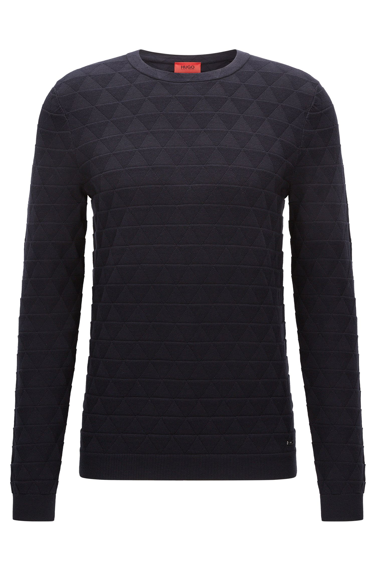 Slim-fit cotton sweater in 3D geometric structure