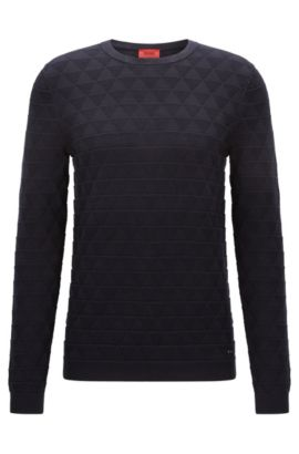 Slim-fit cotton sweater in 3D geometric structure, Dark Blue