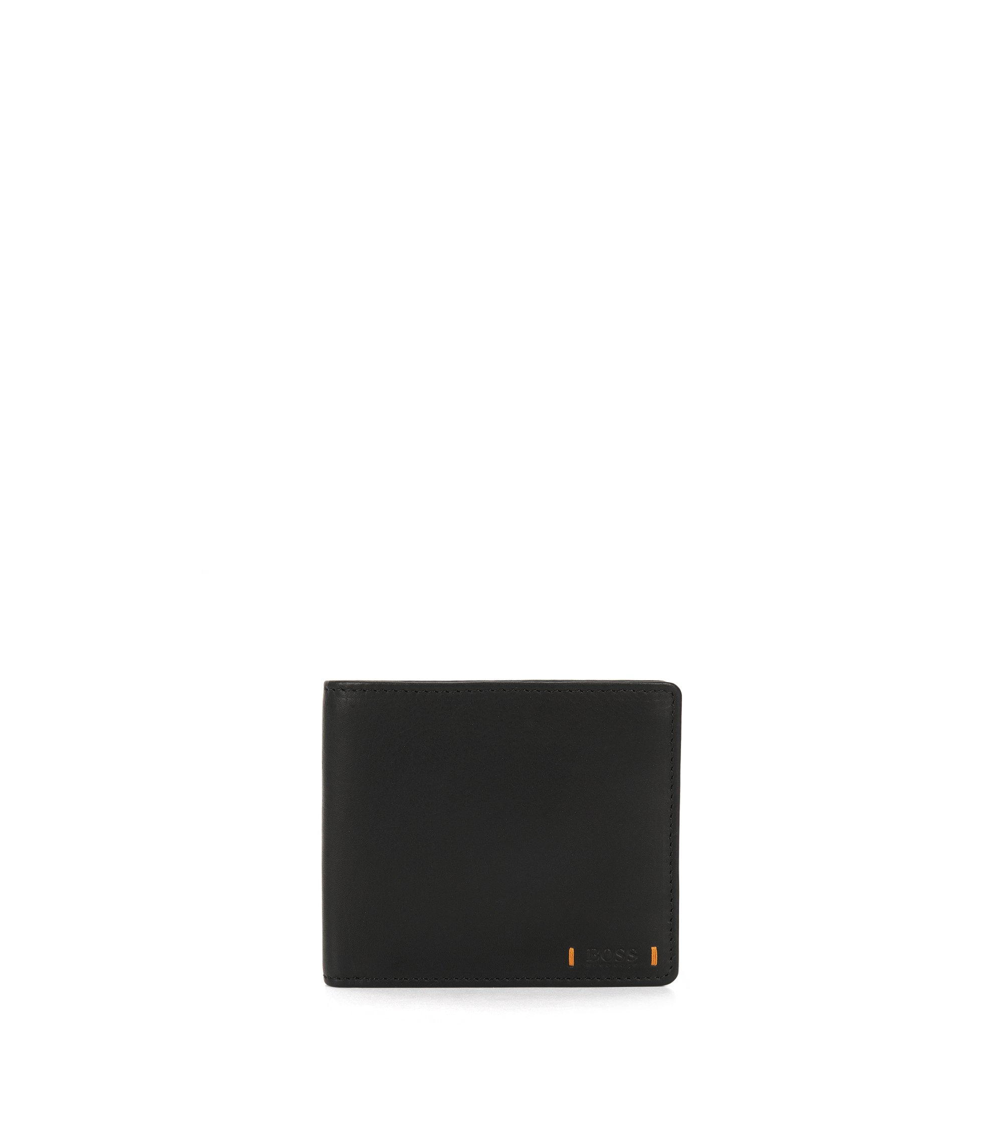 Eight-card bifold wallet in lustrous leather, Black