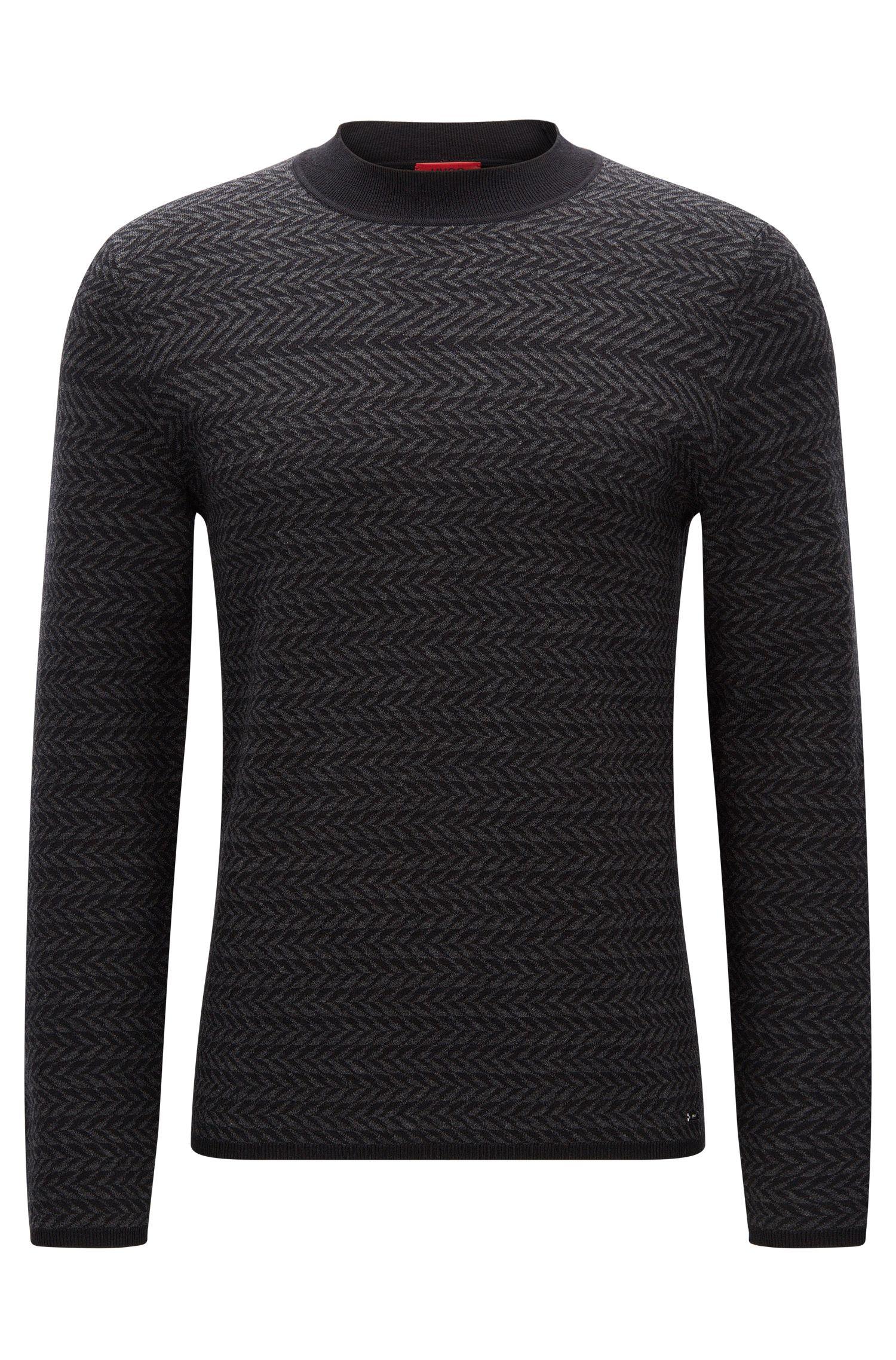 Regular-Fit-Pullover aus strukturiertem Baumwoll-Mix mit Seide und Kaschmir