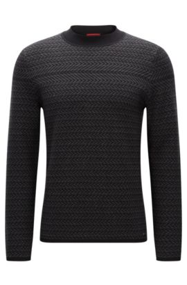 Horizontal structured sweater in a cotton blend, Anthracite