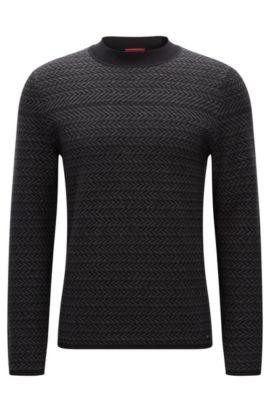Regular-Fit-Pullover aus strukturiertem Baumwoll-Mix mit Seide und Kaschmir, Anthrazit