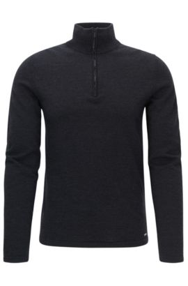 Zip-neck sweater in Merino wool, Anthracite