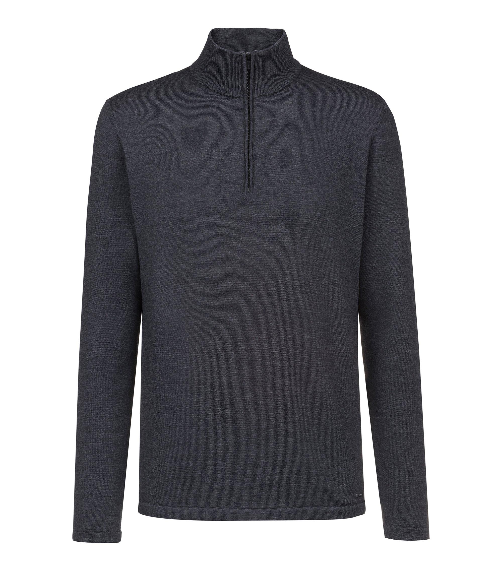 Maglione in lana merino con zip sul colletto, Grigio antracite