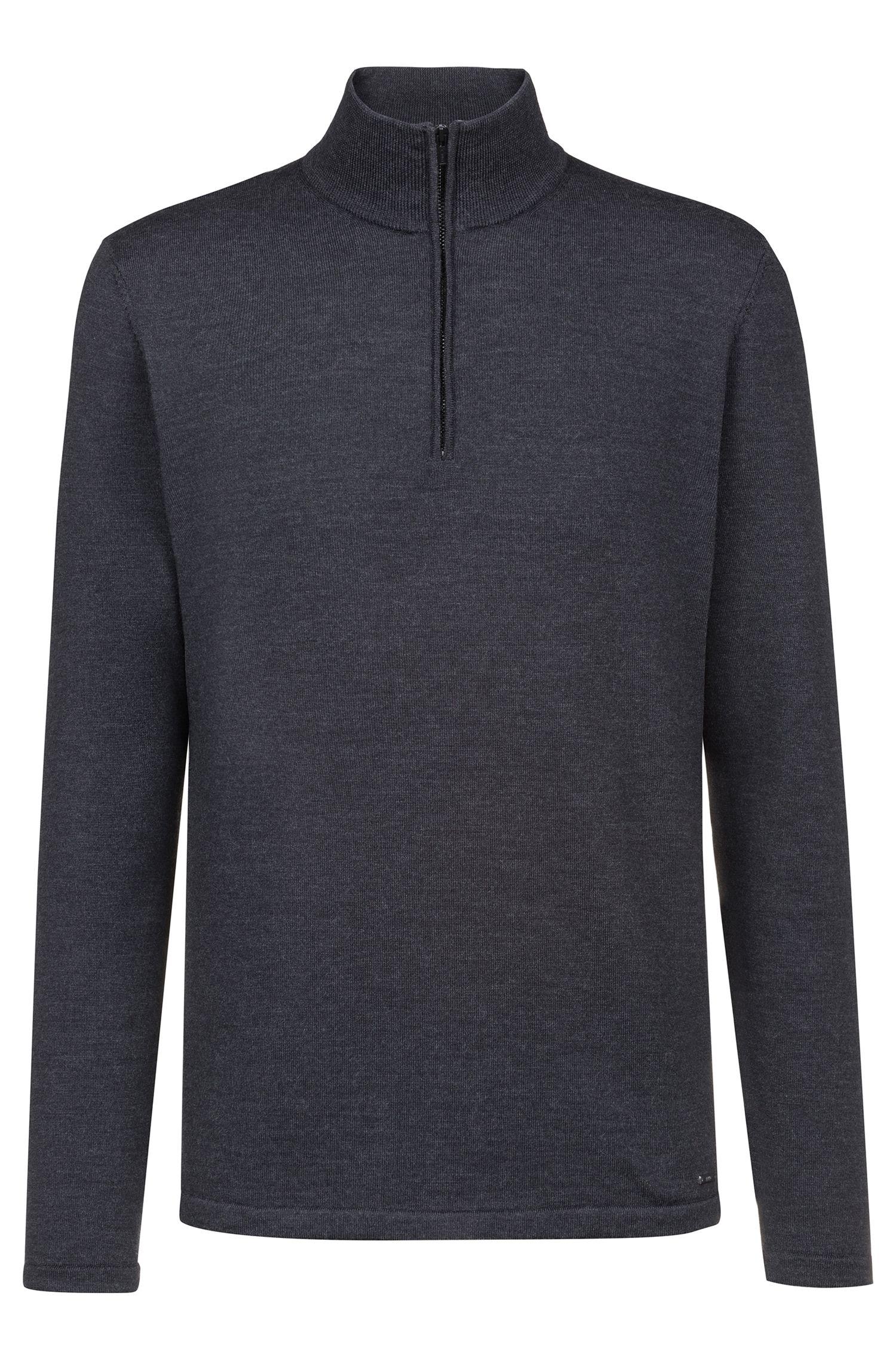 Pull en laine mérinos avec encolure zippée