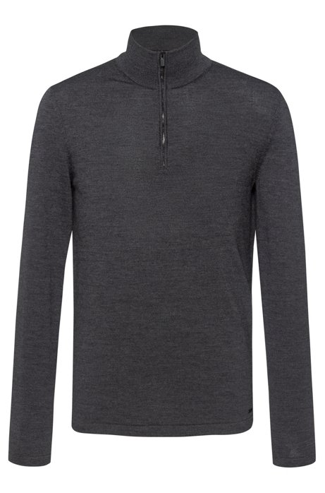 Zip-neck sweater in Merino wool, Dark Grey