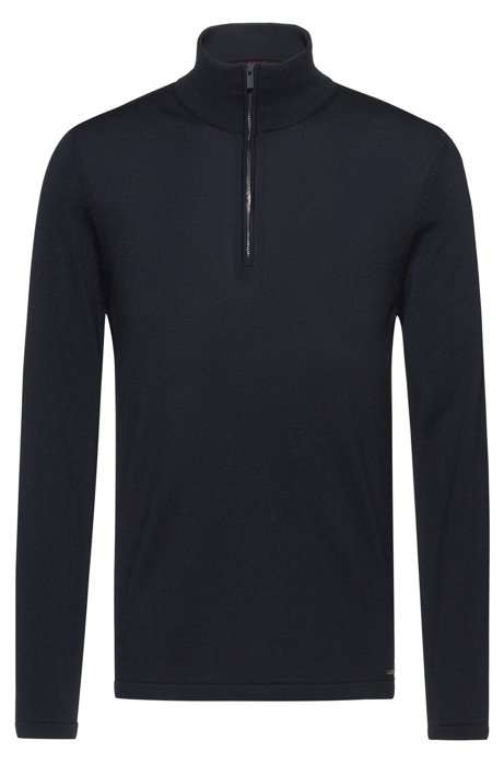 Zip-neck sweater in Merino wool, Dark Blue