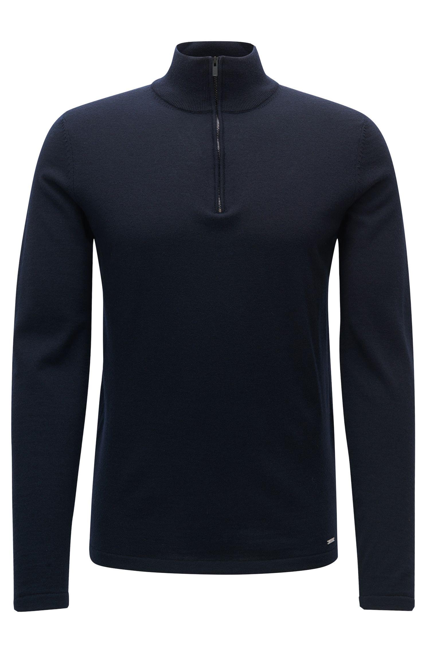 Jersey en lana de merino con cremallera en el cuello