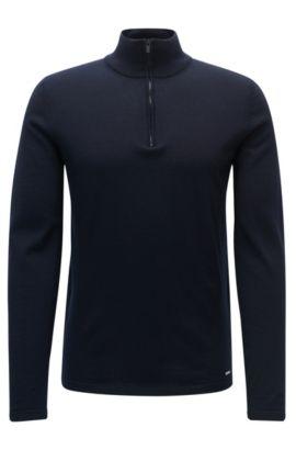 Jersey en lana de merino con cremallera en el cuello, Azul oscuro