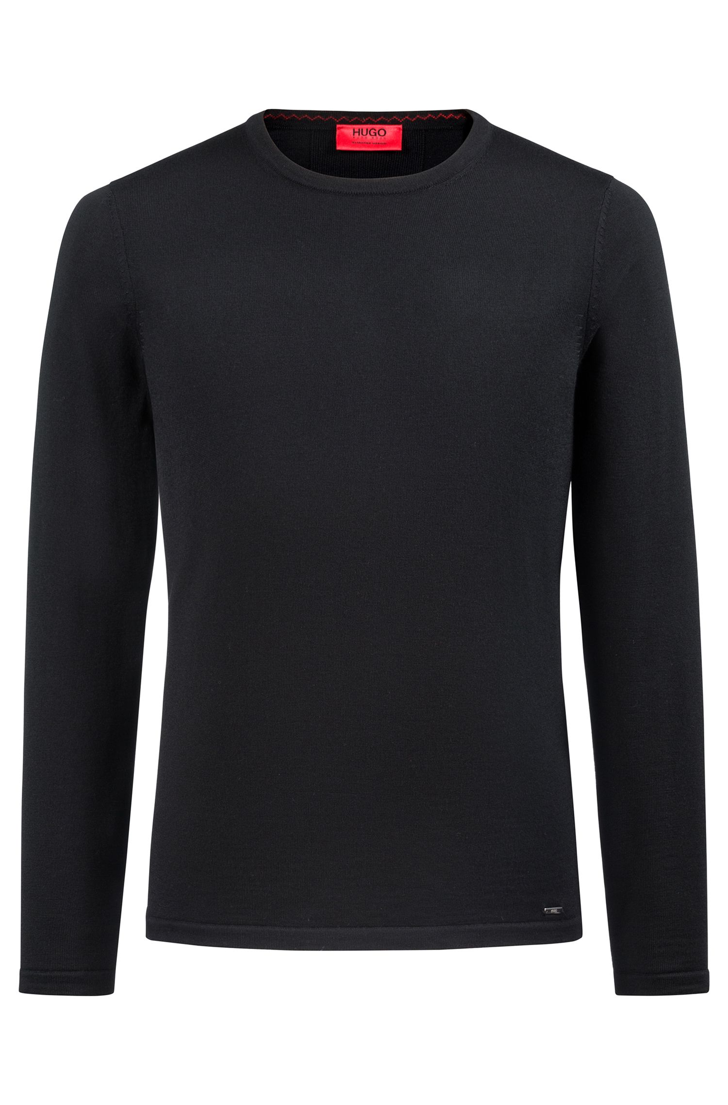 Crew-neck sweater in Merino wool, Black