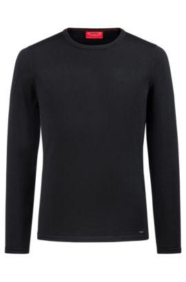 Jersey de cuello redondo en lana de merino, Negro