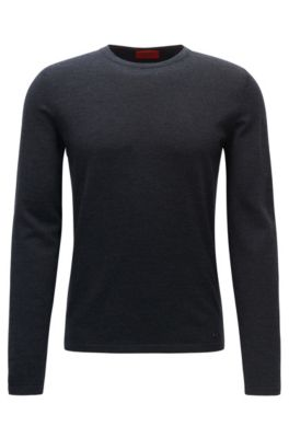 Jersey de cuello redondo en lana de merino, Gris marengo