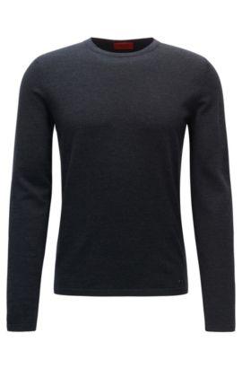 Slim-Fit-Pullover aus Schurwolle mit Rundhalsausschnitt, Anthrazit