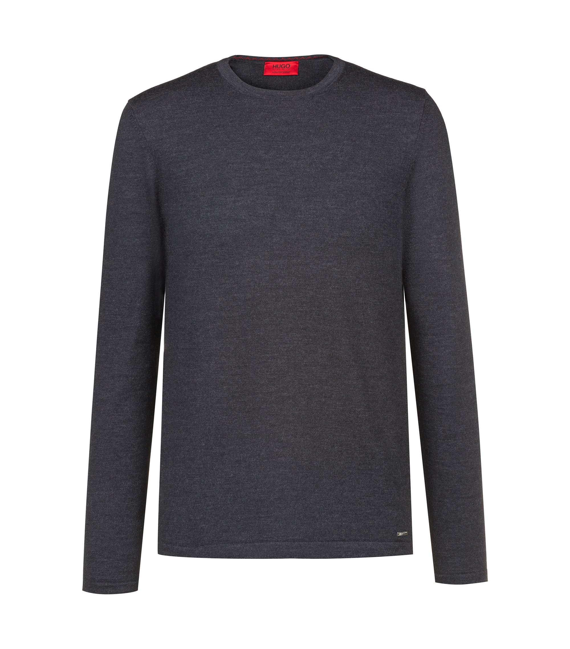 Crew-neck sweater in Merino wool, Anthracite
