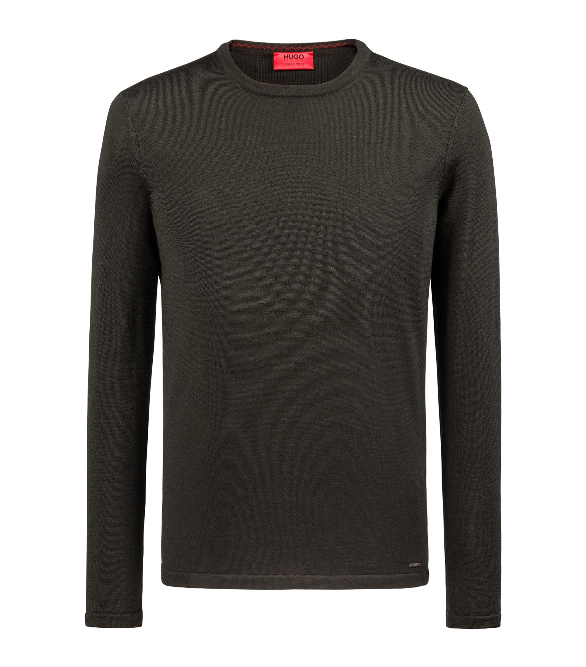 Crew-neck sweater in Merino wool, Dark Green