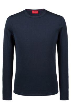 Maglione a girocollo in lana merino, Blu scuro