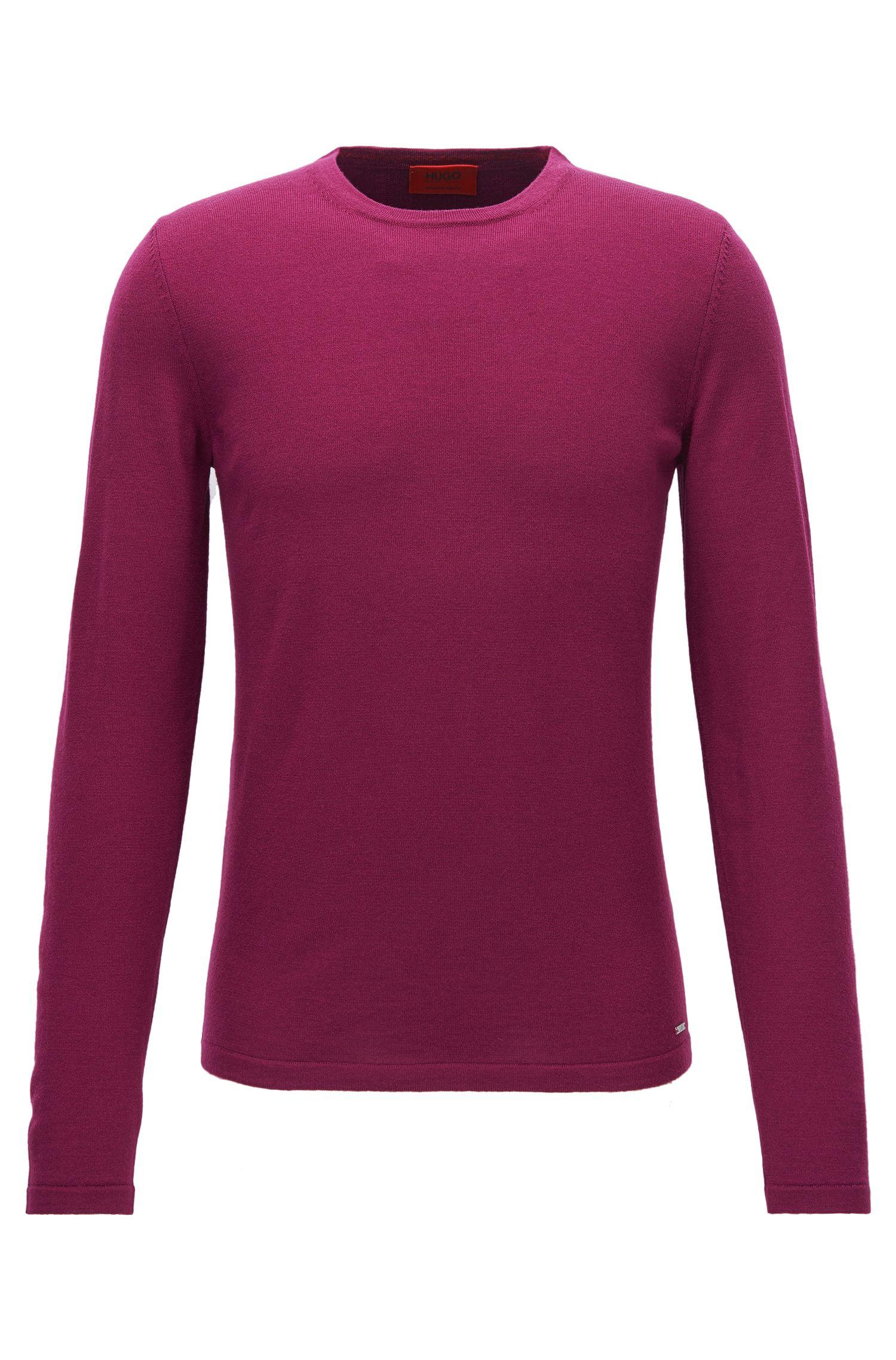 Slim-Fit-Pullover aus Schurwolle mit Rundhalsausschnitt