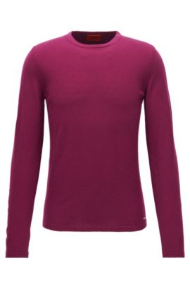 Crew-neck sweater in Merino wool, Dark pink