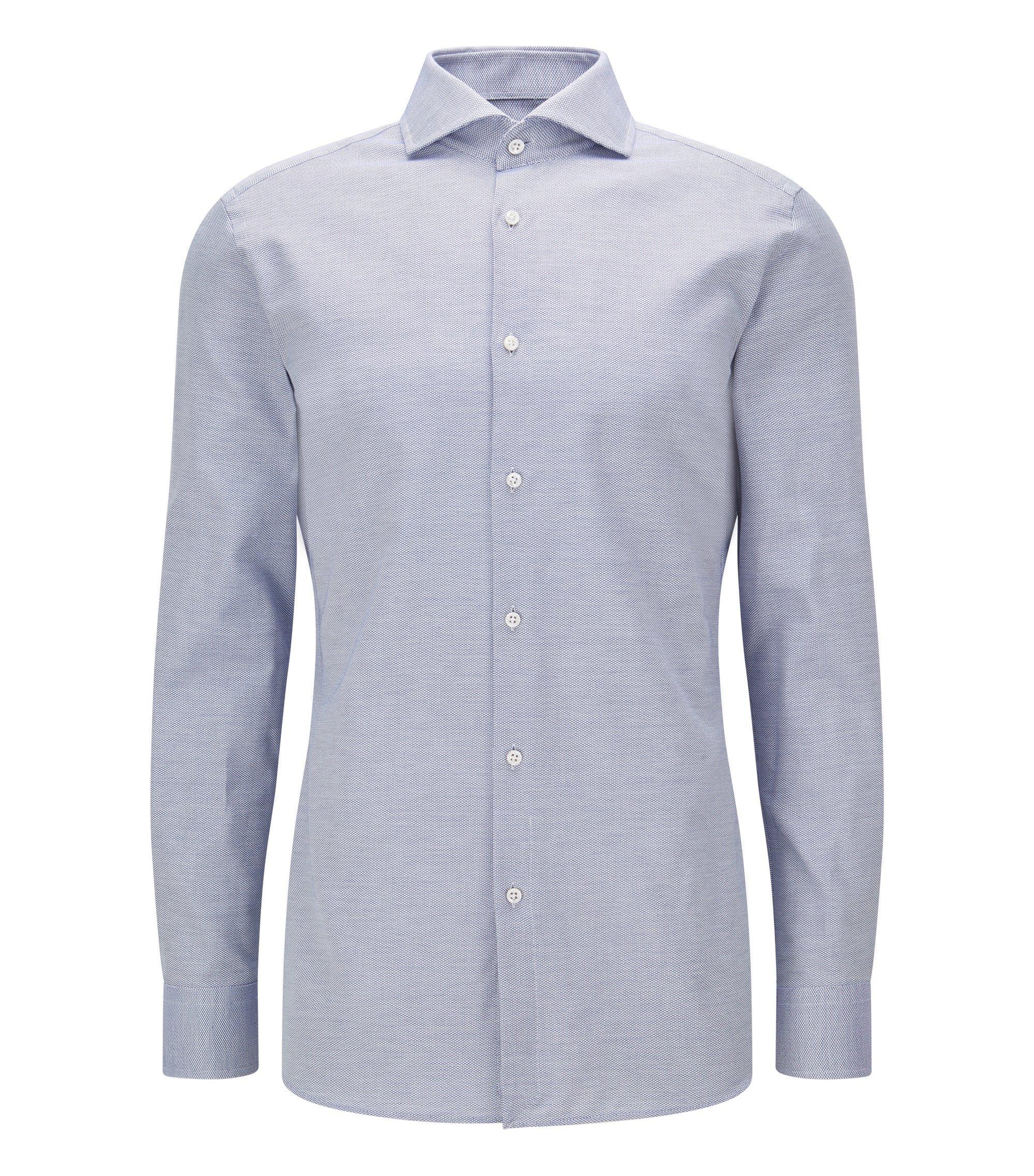 Slim-fit overhemd van katoen met microstructuur, Blauw