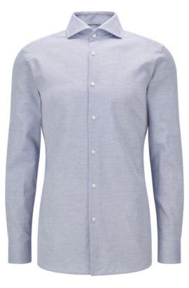 Camisa slim fit de algodón con microtextura, Azul