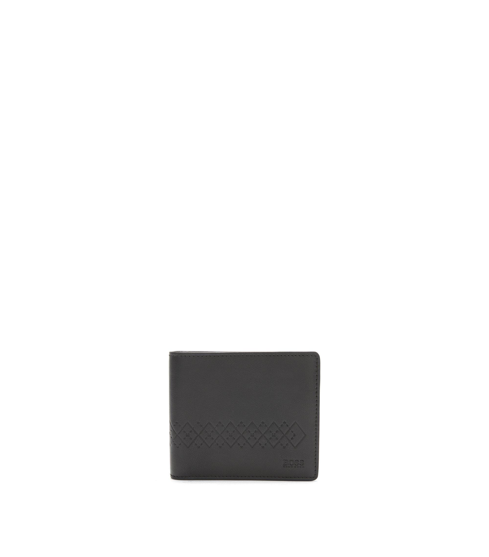 Set de regalo con cartera pequeña de piel y llavero con grabado artístico, Negro