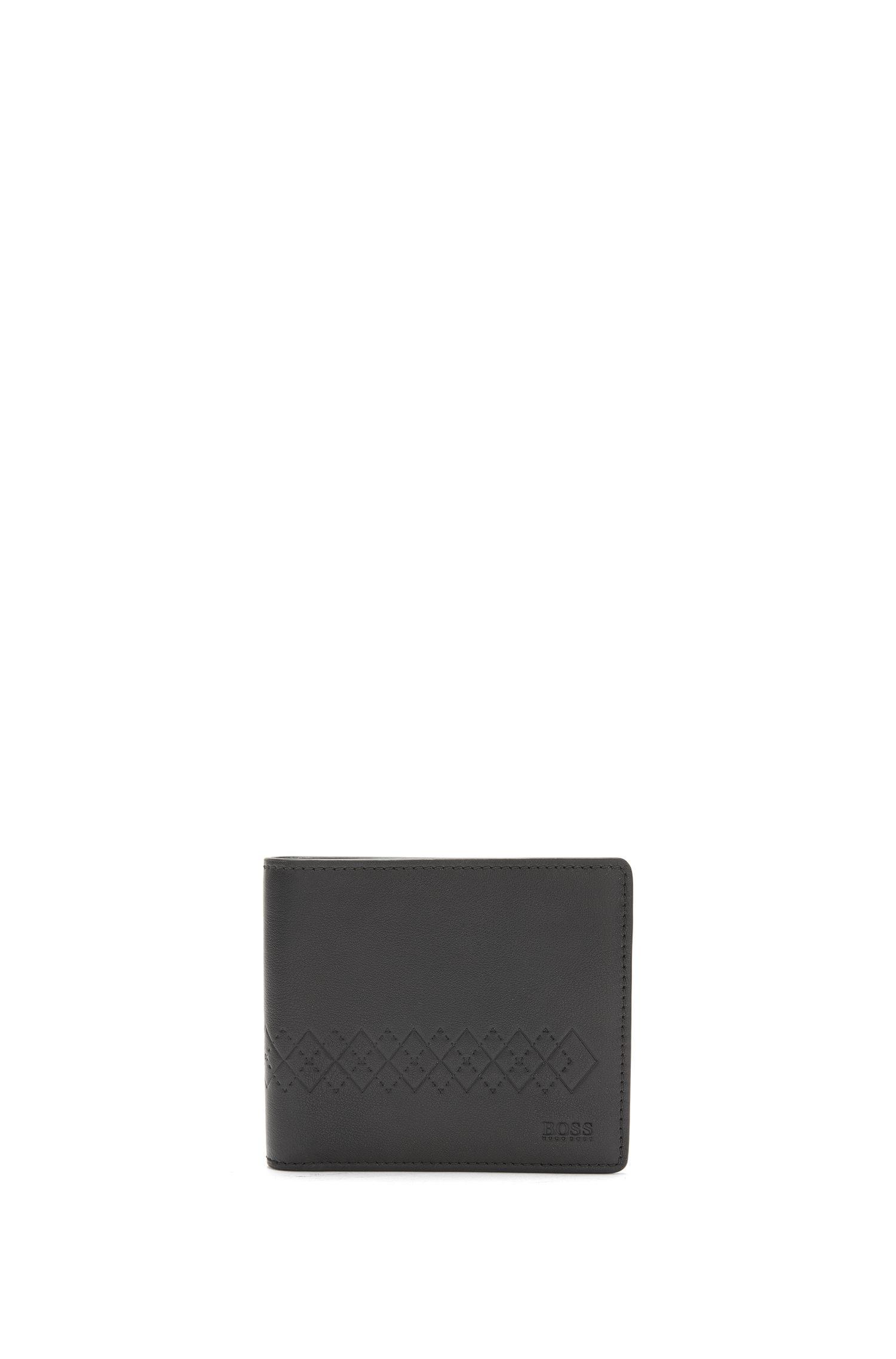 Coffret cadeau avec petit portefeuille en cuir et porte-clés avec œuvre estampée