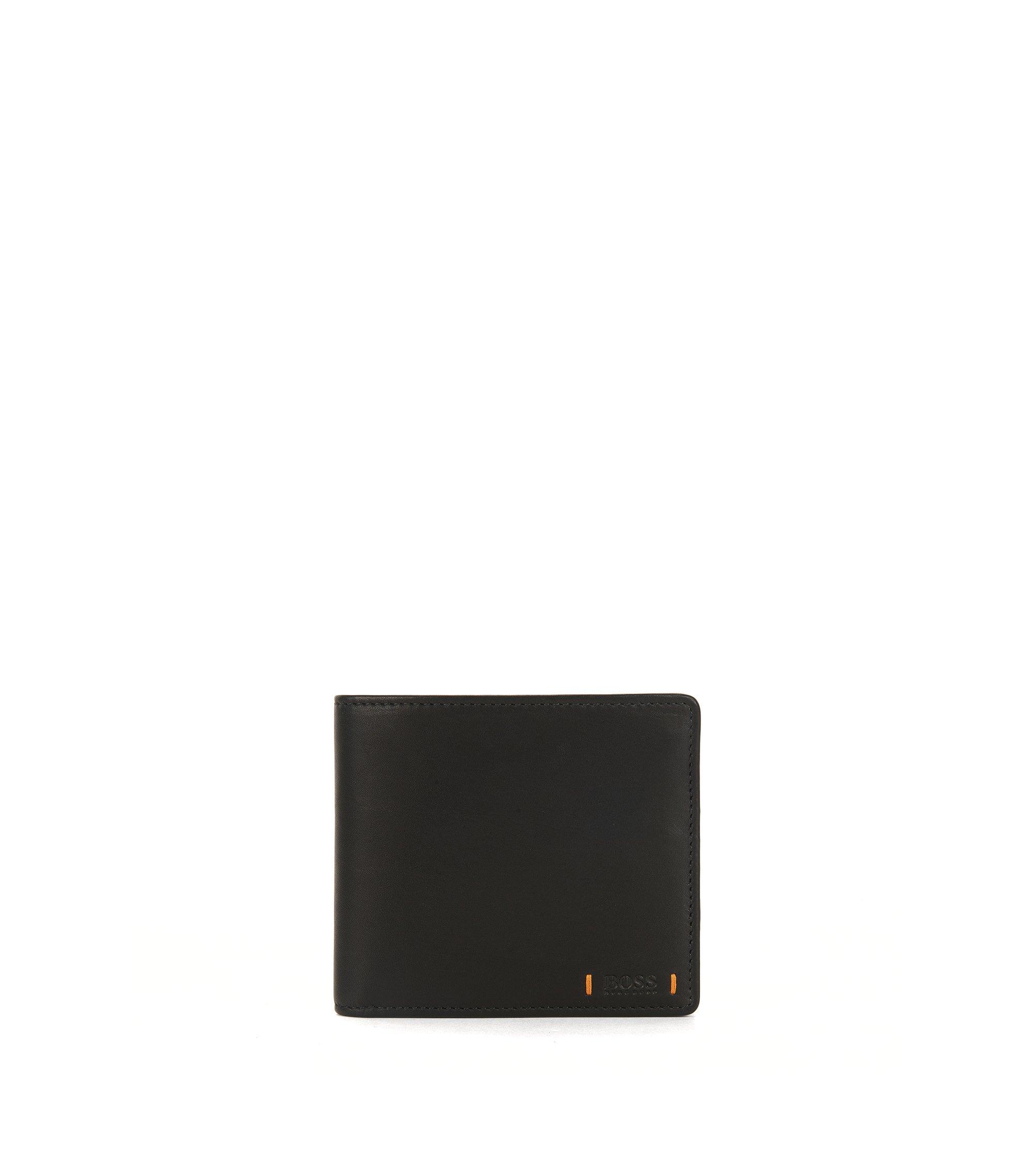 Klapp-Geldbörse aus Leder mit Münzfach, Schwarz