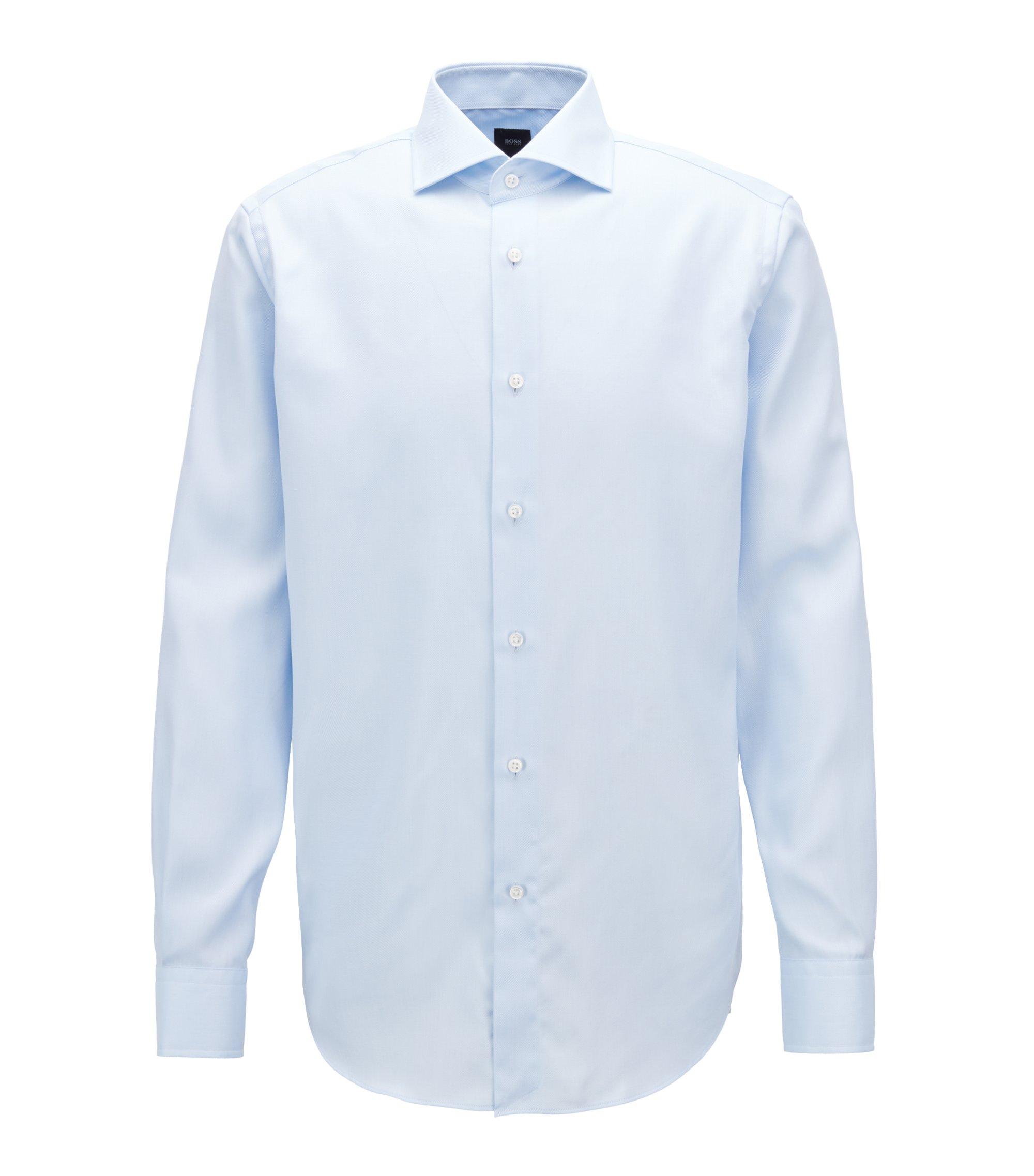 Regular-Fit Hemd aus knitterfreiem Baumwoll-Twill, Hellblau