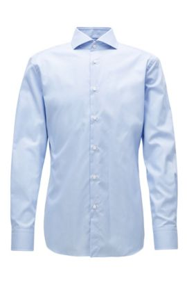 Camicia slim fit in cotone antipiega, Celeste