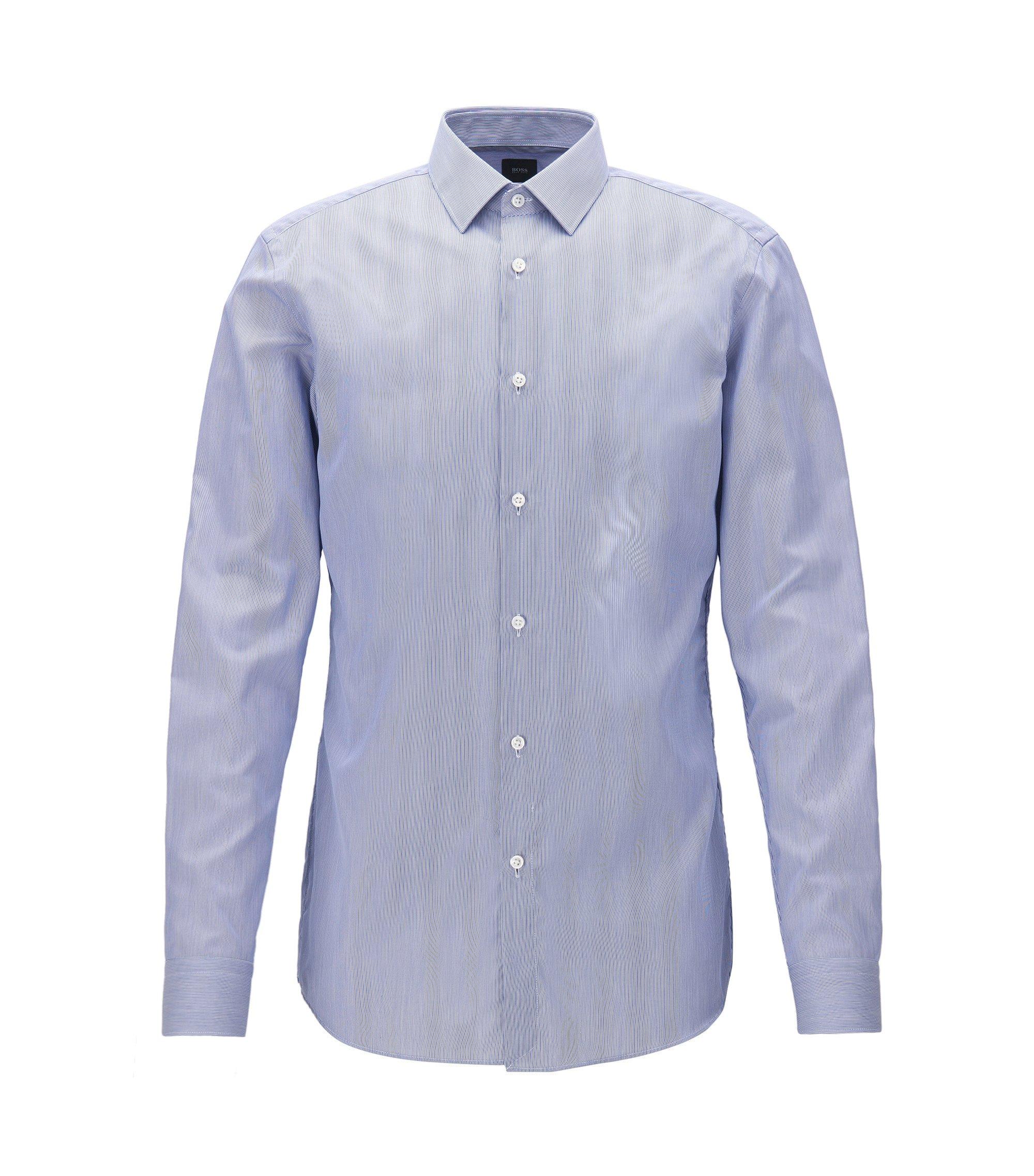 Slim-fit shirt in striped cotton twill, Dark Blue