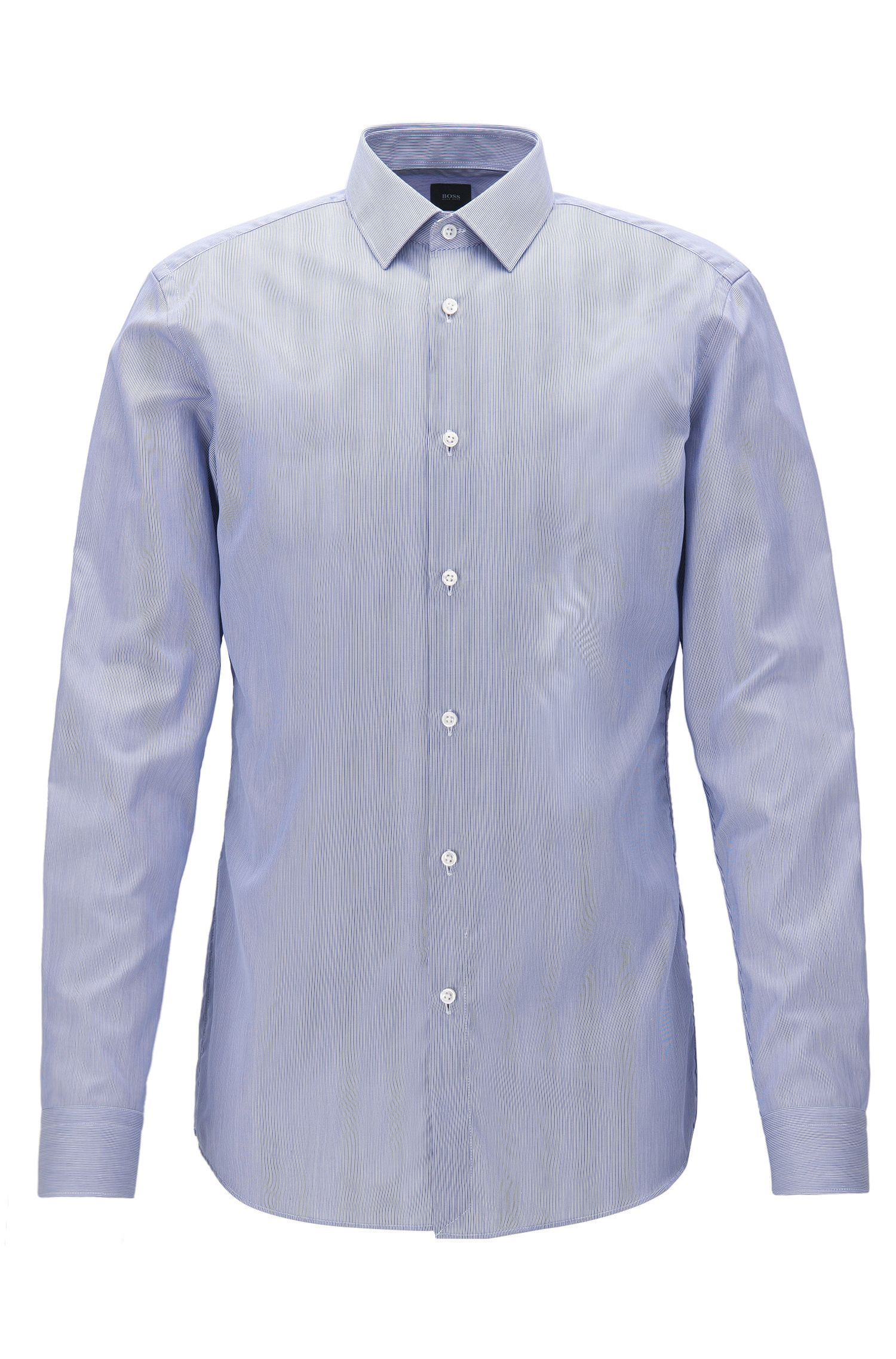 Slim-fit shirt in striped cotton twill