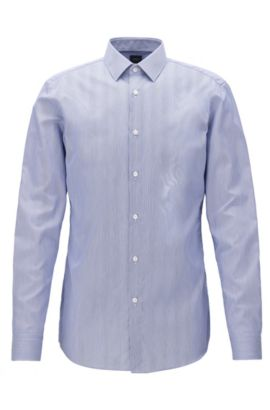 Camicia slim fit in twill di cotone a righe, Blu scuro