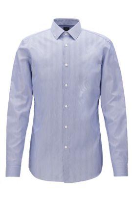 Chemise Slim Fit en sergé de coton à rayures, Bleu foncé