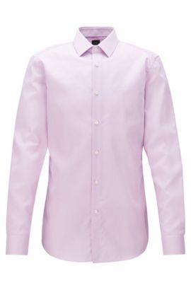 Slim-fit shirt in striped cotton twill, light pink