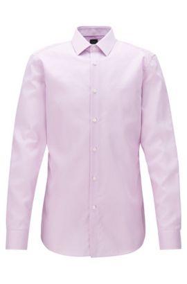 Gestreiftes Slim-Fit Hemd aus Baumwoll-Twill, Hellrosa
