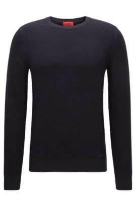 Crew-neck sweater in structured cotton, Dark Blue